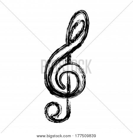 contour sign music note icon, vector illustration design