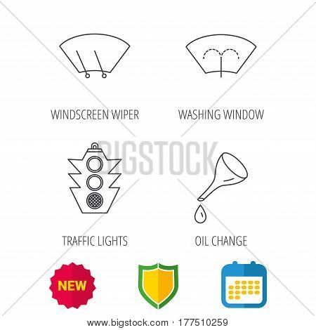 Motor oil change, traffic lights and wiper icons. Washing window, windscreen wiper linear signs. Shield protection, calendar and new tag web icons. Vector