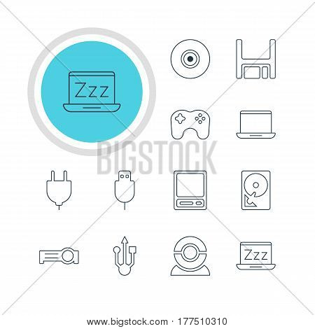 Vector Illustration Of 12 Laptop Icons. Editable Pack Of Serial Bus, Objective, Diskette And Other Elements.