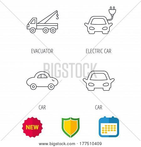 Electric car, evacuator and transport icons. Car linear signs. Shield protection, calendar and new tag web icons. Vector