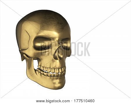 Golden Skull In Human Perspective, Isolated On White Background