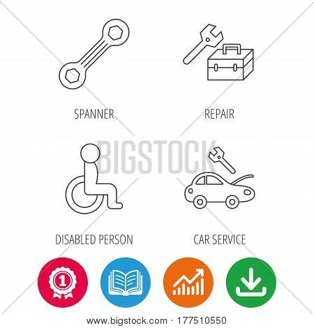 Repair toolbox, spanner tool and car service icons. Disabled person linear sign. Award medal, growth chart and opened book web icons. Download arrow. Vector