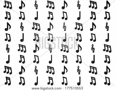 Different Musical Notes Isolated On White Background