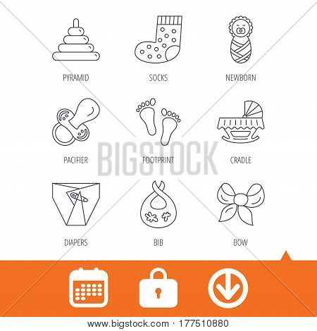 Pacifier, diapers and newborn icons. Footprint, socks and dirty bib linear signs. Pyramid toy, cradle bed flat line icons. Download arrow, locker and calendar web icons. Vector