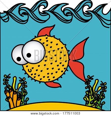 surprised balloon fish cartoon inside aquarium, vector illustration