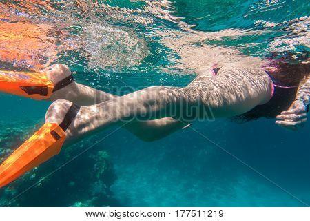 Girls legs in orange flippers dive underwater in Red sea near coral reef