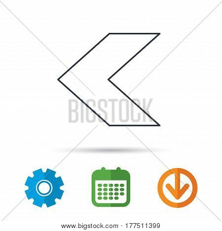 Back arrow icon. Previous sign. Left direction symbol. Calendar, cogwheel and download arrow signs. Colored flat web icons. Vector
