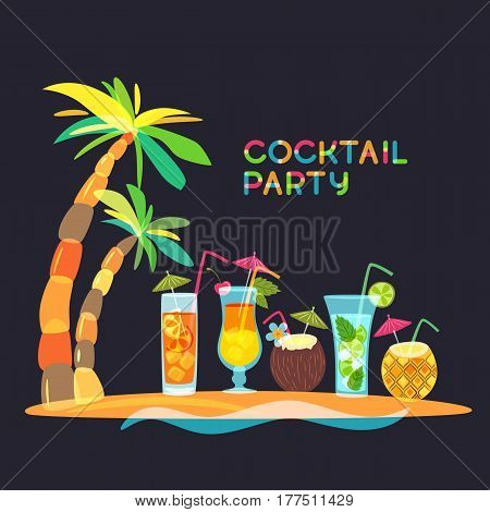 Cocktail Beach Party Concept, Vector Doodle Illustration. Tropical Island With Cocktails, Juice And