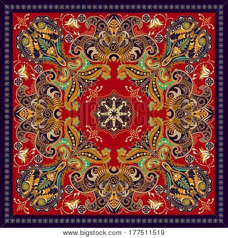 Design for square pocket, shawl, textile. Colorful Paisley floral pattern