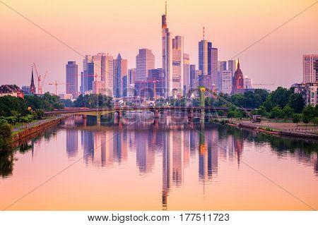 Frankfurt Skyline Reflecting In Main River, Germany
