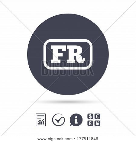 French language sign icon. FR France translation symbol with frame. Report document, information and check tick icons. Currency exchange. Vector