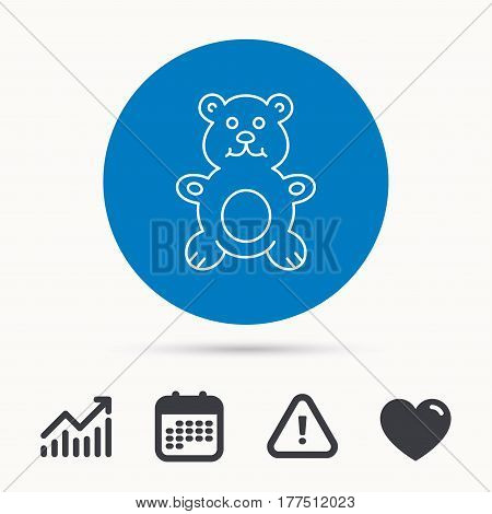 Teddy-bear icon. Baby toy sign. Plush animal symbol. Calendar, attention sign and growth chart. Button with web icon. Vector