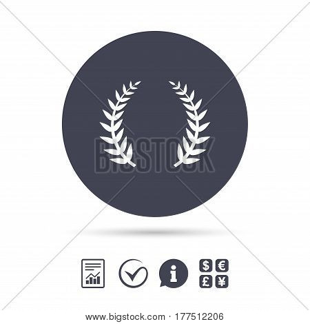 Laurel Wreath sign icon. Triumph symbol. Report document, information and check tick icons. Currency exchange. Vector