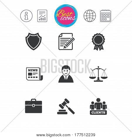 Information, report and calendar signs. Lawyer, scales of justice icons. Clients, auction hammer and law judge symbols. Newspaper, award and agreement document signs. Classic simple flat web icons