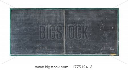 School board with inscription. Old blackboard in wooden frame with eraser and chalk.