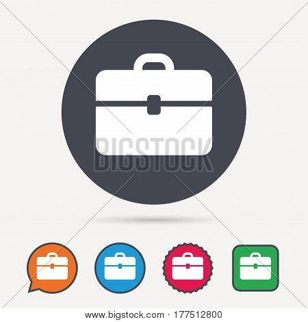 Briefcase icon. Diplomat handbag symbol. Business case sign. Circle, speech bubble and star buttons. Flat web icons. Vector