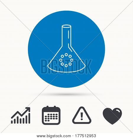 Laboratory bulb or beaker icon. Chemistry sign. Science or pharmaceutical symbol. Calendar, attention sign and growth chart. Button with web icon. Vector