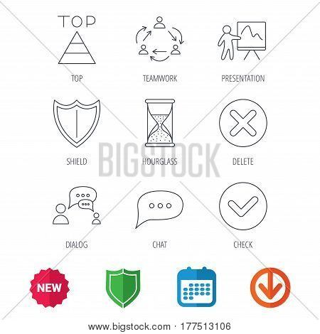 Teamwork, presentation and dialog icons. Chat speech bubble, shield and pyramid linear signs. Check, delete and hourglass flat line icons. New tag, shield and calendar web icons. Download arrow