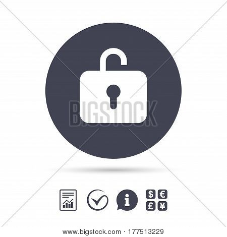 Lock sign icon. Login symbol. Report document, information and check tick icons. Currency exchange. Vector