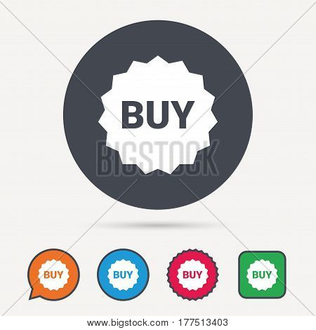 Buy icon. Online shopping star symbol. Circle, speech bubble and star buttons. Flat web icons. Vector