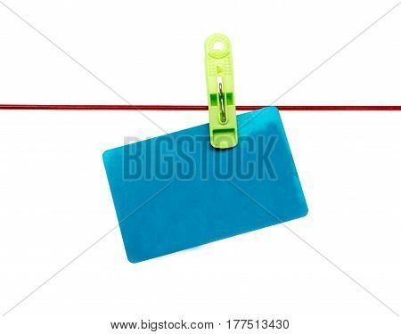 Plastic card on a rope on a white background .