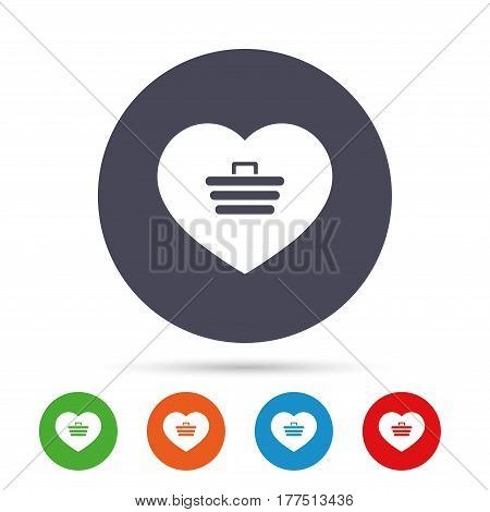 Love Shopping Cart sign icon. Online buying. Round colourful buttons with flat icons. Vector
