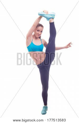 young fit woman doing exercises on white background isolated