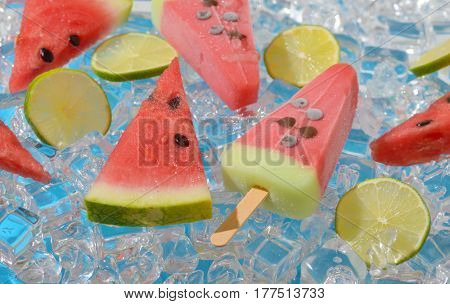 ice cream with watermelon and lemon