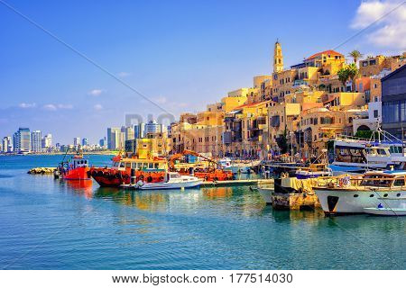 Old town and port of Jaffa and modern skyline of Tel Aviv city Israel poster