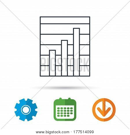 Chart icon. Graph diagram sign. Demand growth symbol. Calendar, cogwheel and download arrow signs. Colored flat web icons. Vector