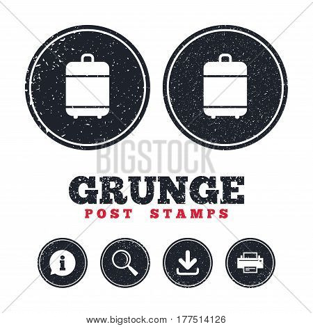 Grunge post stamps. Travel luggage bag icon. Baggage symbol. Information, download and printer signs. Aged texture web buttons. Vector