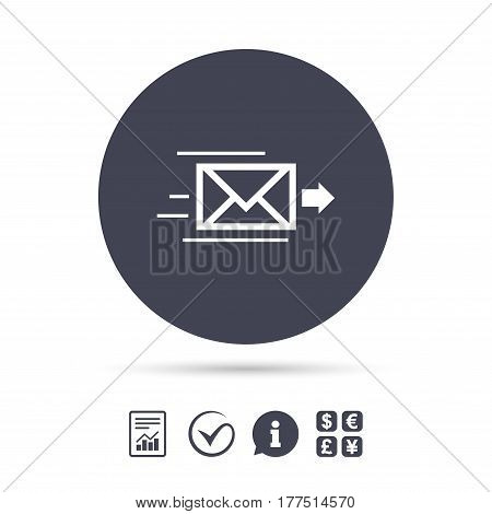 Mail delivery icon. Envelope symbol. Message sign. Mail navigation button. Report document, information and check tick icons. Currency exchange. Vector