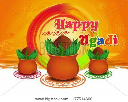 Happy Ugadi and Gudi Padwa. New Years Day for the people of the Deccan region of India. Vector illustration with mandala, rangoli and Kalash on grungy colorful background