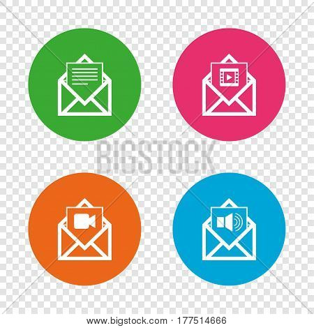 Mail envelope icons. Message document symbols. Video and Audio voice message signs. Round buttons on transparent background. Vector