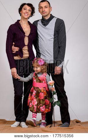 Family portrait on a white background Studio