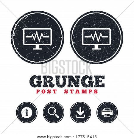 Grunge post stamps. Cardiogram monitoring sign icon. Heart beats symbol. Information, download and printer signs. Aged texture web buttons. Vector