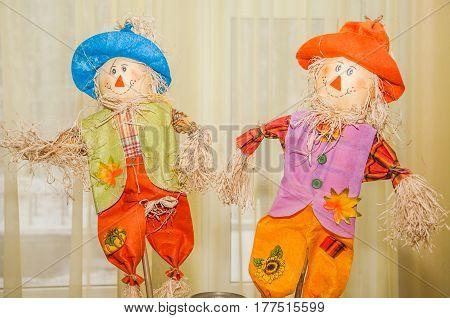 Two decorative straw stuffed. Russian folk toy