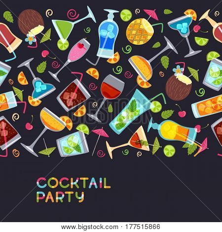 Vector Seamless Horizontal Background With Cocktails, Juice, Wine Glasses. Hand Drawn Illustration.