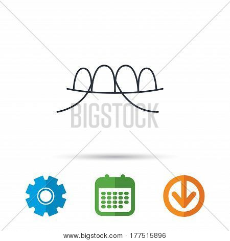 Dental floss icon. Teeth cleaning sign. Oral hygiene symbol. Calendar, cogwheel and download arrow signs. Colored flat web icons. Vector