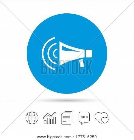 Megaphone sign icon. Loudspeaker strike symbol. Copy files, chat speech bubble and chart web icons. Vector