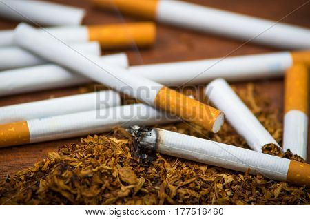 Closeup cigarettes and tobacco lying around on wooden surface, anti smoking concept.