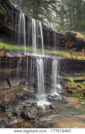 A beautiful waterfall plunges in two drops at Oglebay Park in Wheeling West Virgina.