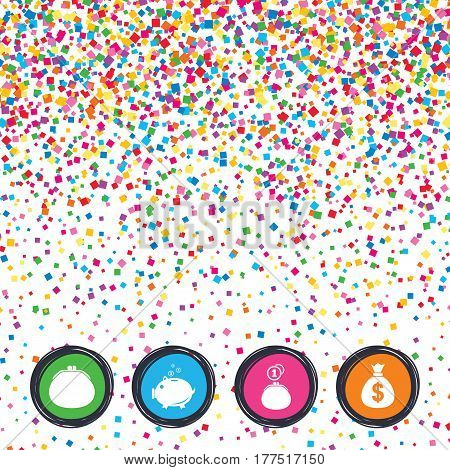 Web buttons on background of confetti. Wallet with cash coin and piggy bank moneybox symbols. Dollar USD currency sign. Bright stylish design. Vector
