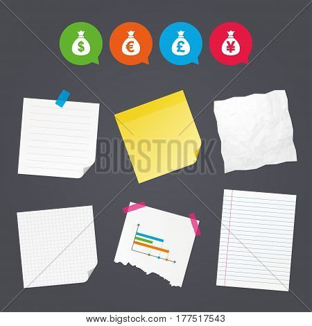 Business paper banners with notes. Money bag icons. Dollar, Euro, Pound and Yen symbols. USD, EUR, GBP and JPY currency signs. Sticky colorful tape. Speech bubbles with icons. Vector