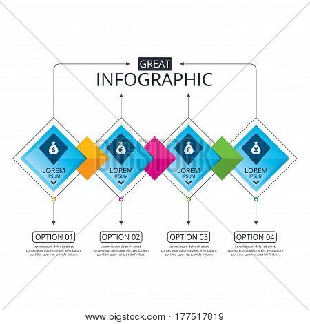 Infographic flowchart template. Business diagram with options. Money bag icons. Dollar, Euro, Pound and Yen symbols. USD, EUR, GBP and JPY currency signs. Timeline steps. Vector