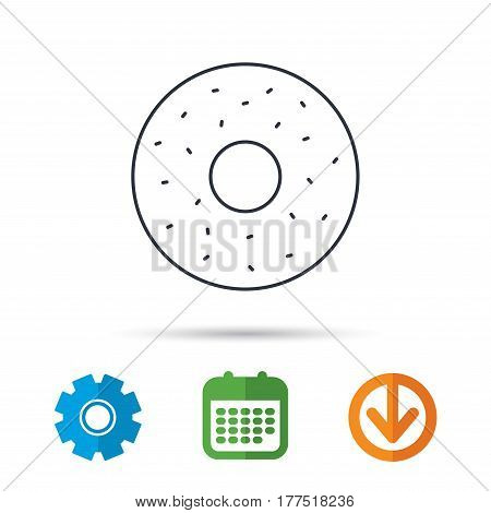 Donut icon. Sweet doughnuts sign. Breakfast dessert symbol. Calendar, cogwheel and download arrow signs. Colored flat web icons. Vector