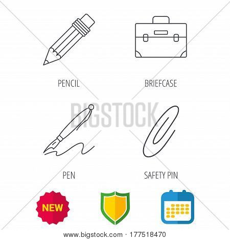 Briefcase, pencil and safety pin icons. Pen linear sign. Shield protection, calendar and new tag web icons. Vector