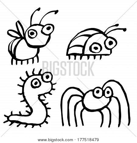 Funny cartoon insects crawling somewhere. Vector illustration. Contour Freehand Digital Drawing Cute Characters. White Color Background.