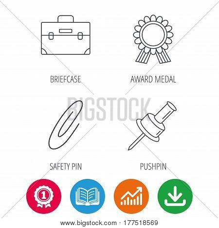 Award medal, pushpin and briefcase icons. Safety pin linear sign. Award medal, growth chart and opened book web icons. Download arrow. Vector