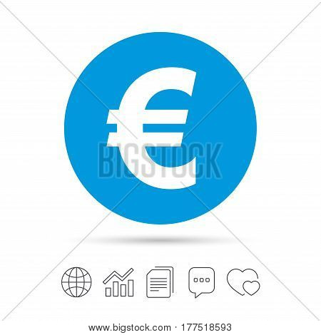 Euro sign icon. EUR currency symbol. Money label. Copy files, chat speech bubble and chart web icons. Vector